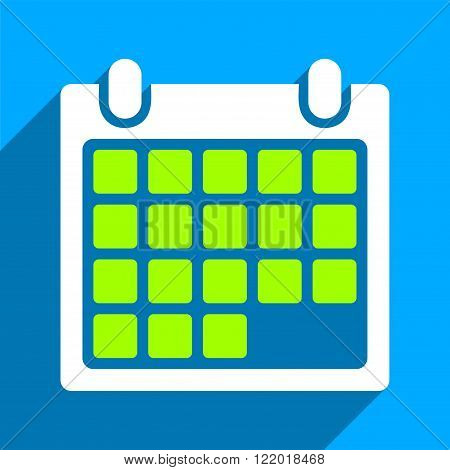 Month Calendar long shadow vector icon. Style is a flat month calendar iconic symbol on a blue square background.