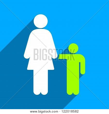 Mother With Son long shadow vector icon. Style is a flat mother with son iconic symbol on a blue square background.