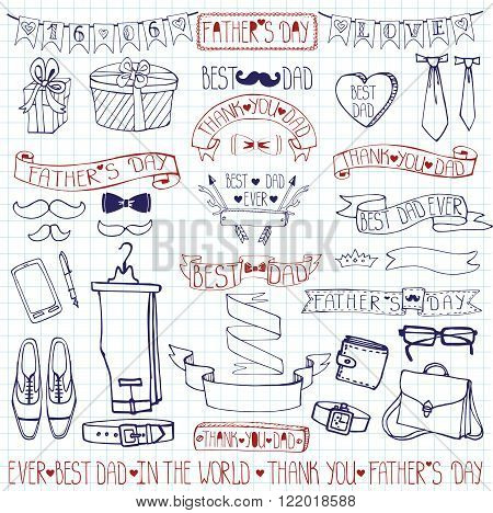 Doodle vector.Fathers day decor elements and lettering set.Linear  Hand drawing ribbons banner, badges, bow tie, male collection.For party invitation, card, template.Notepaper