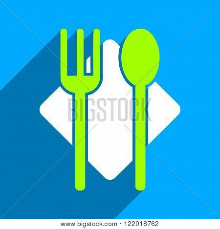 Nutrition long shadow vector icon. Style is a flat nutrition iconic symbol on a blue square background.