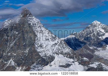 Winter landscape of swiss Alps with Matterhorn, Canton of Valais, Switzerland