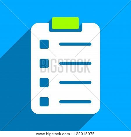Pad Form long shadow vector icon. Style is a flat pad form iconic symbol on a blue square background.