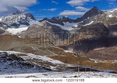 Amazing winter view of Swiss Alps, Canton of Valais, Switzerland