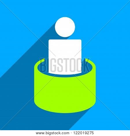 Patient Isolation long shadow vector icon. Style is a flat patient isolation iconic symbol on a blue square background.