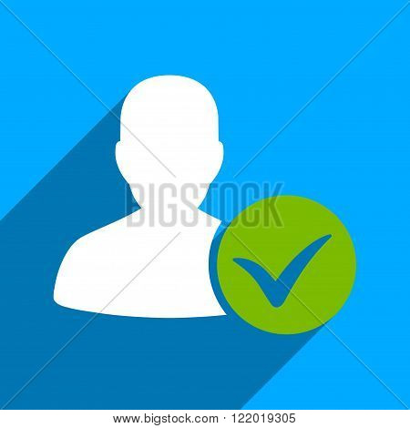 Patient Ok long shadow vector icon. Style is a flat patient ok iconic symbol on a blue square background.