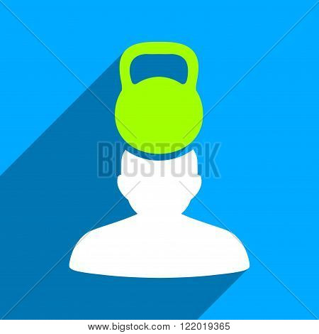 Patient Stress long shadow vector icon. Style is a flat patient stress iconic symbol on a blue square background.