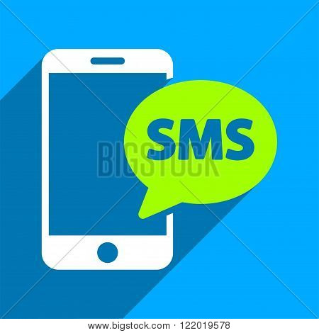 Phone SMS long shadow vector icon. Style is a flat phone sms iconic symbol on a blue square background.