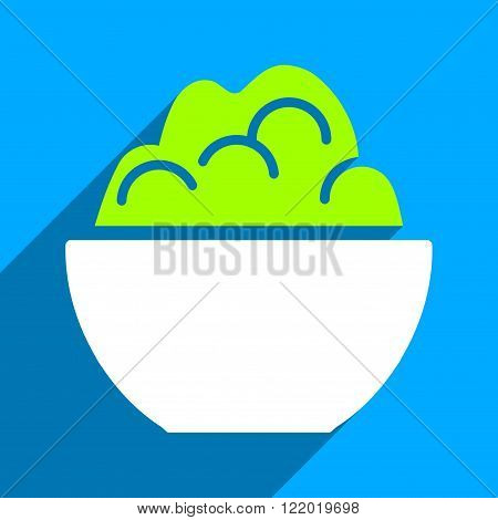 Porridge Bowl long shadow vector icon. Style is a flat porridge bowl iconic symbol on a blue square background.