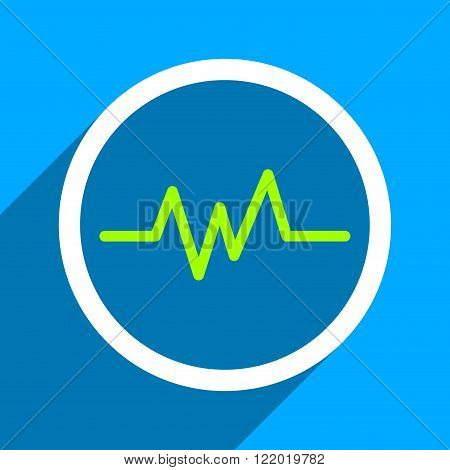 Pulse Monitoring long shadow vector icon. Style is a flat pulse monitoring iconic symbol on a blue square background.