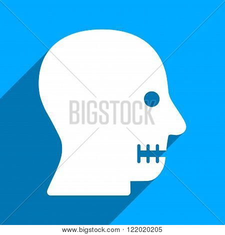 Sewn Mouth long shadow vector icon. Style is a flat sewn mouth iconic symbol on a blue square background.