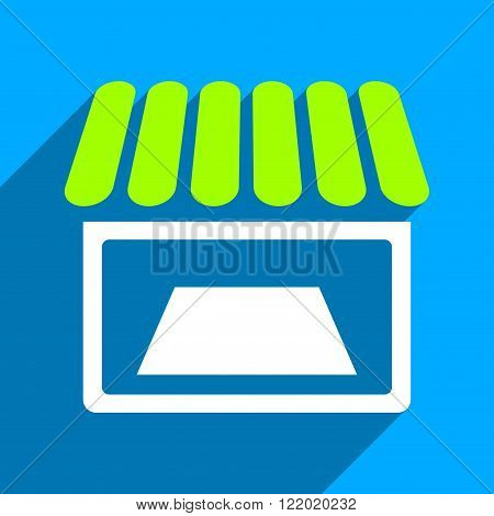 Shop Facade long shadow vector icon. Style is a flat shop facade iconic symbol on a blue square background.