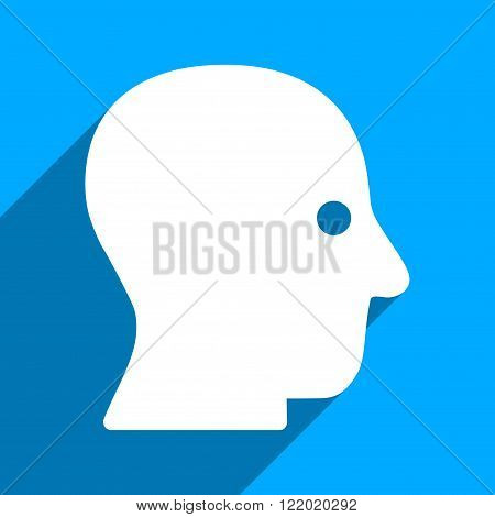 Silent Head long shadow vector icon. Style is a flat silent head iconic symbol on a blue square background.