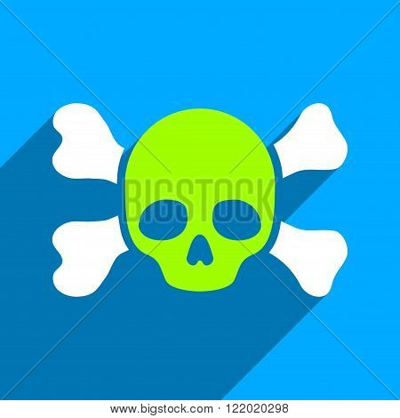 Skull and Bones long shadow vector icon. Style is a flat skull and bones iconic symbol on a blue square background.