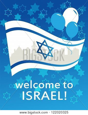 welcome to Israel. flag, david star and peace white dove