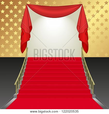 background with stairs covered with red carpet