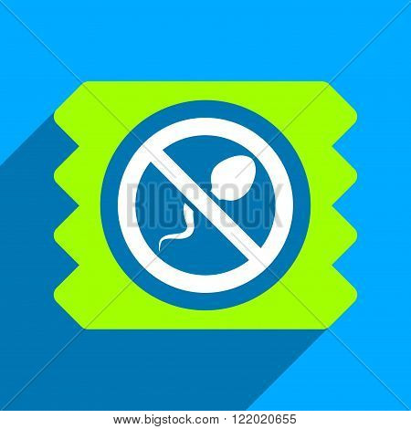 Spermicide Condom long shadow vector icon. Style is a flat spermicide condom iconic symbol on a blue square background.