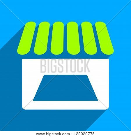 Store Facade long shadow vector icon. Style is a flat store facade iconic symbol on a blue square background.