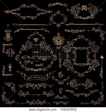 Royal Vector Design Elements.Calligraphic curves Gold Frames, Borders, Swirls dviders.For Wedding  invitation, save date, Valentine card, restaurant menu.Art Nouveau style.Linear vintage illustration