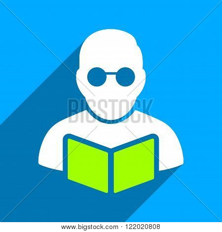 Student Reading Book long shadow vector icon. Style is a flat Student reading book iconic symbol on a blue square background.