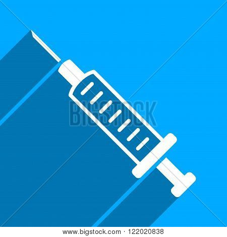 Syringe long shadow vector icon. Style is a flat syringe iconic symbol on a blue square background.