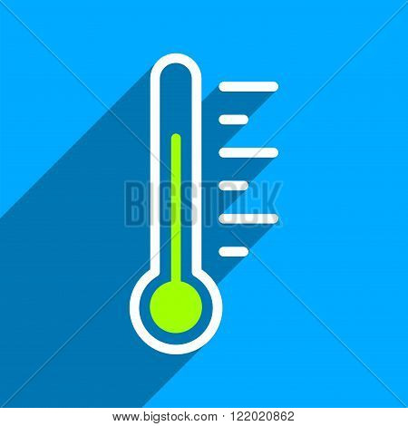 Temperature Level long shadow vector icon. Style is a flat temperature level iconic symbol on a blue square background.