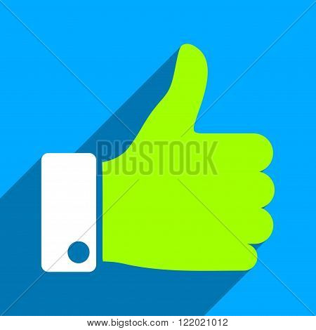 Thumb Up long shadow vector icon. Style is a flat thumb up iconic symbol on a blue square background.