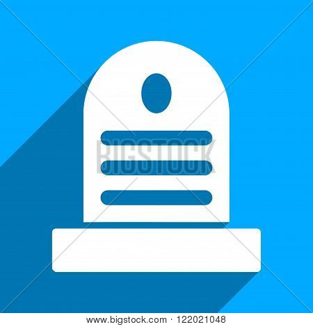 Tombstone long shadow vector icon. Style is a flat tombstone iconic symbol on a blue square background.