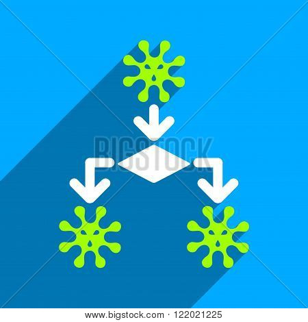 Virus Reproduction long shadow vector icon. Style is a flat virus reproduction iconic symbol on a blue square background.