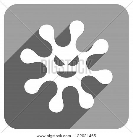 Evil Bacteria long shadow vector icon. Style is a flat evil bacteria iconic symbol on a gray square background.
