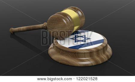 Court hammer and Israel flag on black background