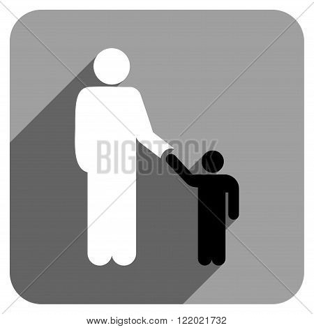 Father With Son long shadow vector icon. Style is a flat father with son iconic symbol on a gray square background.