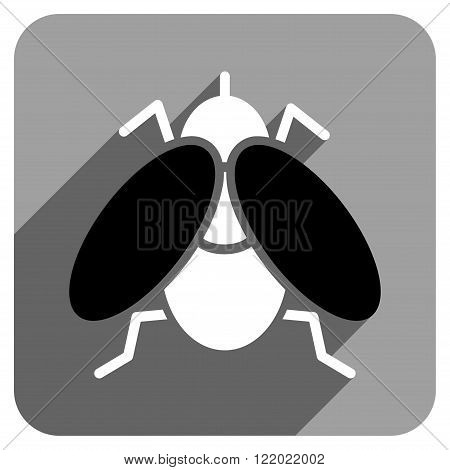 Fly long shadow vector icon. Style is a flat fly iconic symbol on a gray square background.