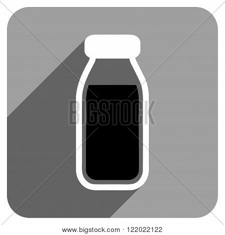 Full Bottle long shadow vector icon. Style is a flat full bottle iconic symbol on a gray square background.
