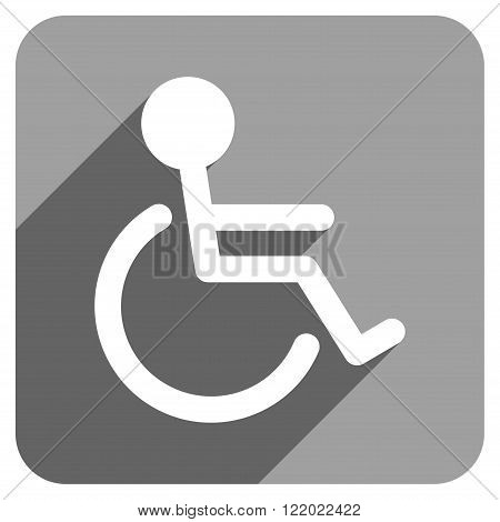 Handicapped long shadow vector icon. Style is a flat handicapped iconic symbol on a gray square background.