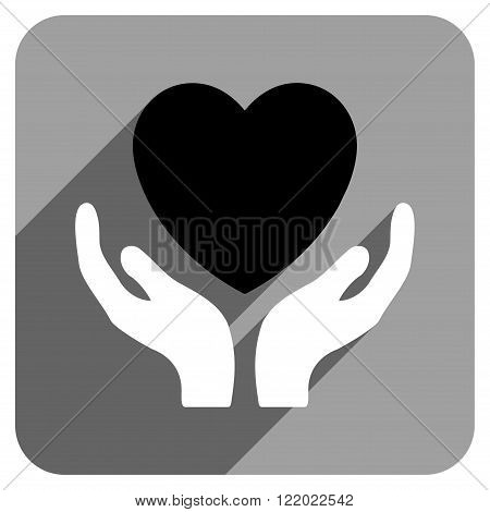 Heart Care Hands long shadow vector icon. Style is a flat heart care hands iconic symbol on a gray square background.