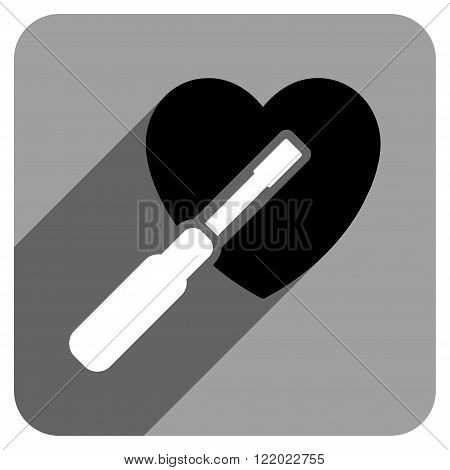 Heart Tuning long shadow vector icon. Style is a flat heart tuning iconic symbol on a gray square background.