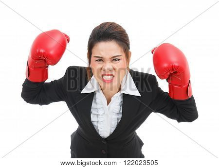 Asian business woman with boxing gloves angry isolated on white background
