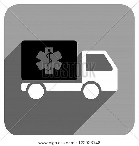 Medical Shipment long shadow vector icon. Style is a flat medical shipment iconic symbol on a gray square background.