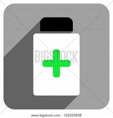 Medication Bottle long shadow vector icon. Style is a flat medication bottle iconic symbol on a gray square background.