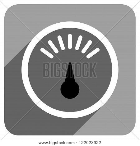 Meter long shadow vector icon. Style is a flat meter iconic symbol on a gray square background.