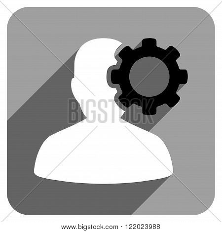 Migraine long shadow vector icon. Style is a flat migraine iconic symbol on a gray square background.