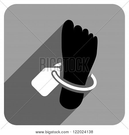 Mortuary Foot Tag long shadow vector icon. Style is a flat mortuary foot tag iconic symbol on a gray square background.