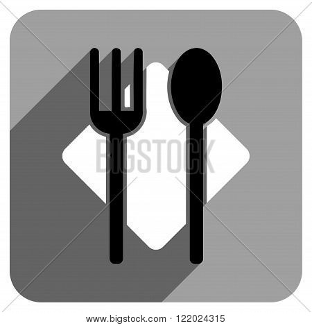Nutrition long shadow vector icon. Style is a flat nutrition iconic symbol on a gray square background.