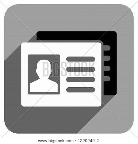 Patient Accounts long shadow vector icon. Style is a flat patient accounts iconic symbol on a gray square background.