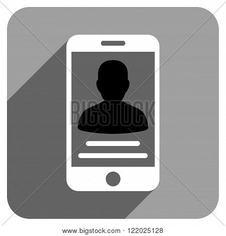 Patient Mobile Account long shadow vector icon. Style is a flat patient mobile account iconic symbol on a gray square background.