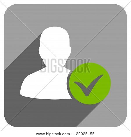 Patient Ok long shadow vector icon. Style is a flat patient ok iconic symbol on a gray square background.