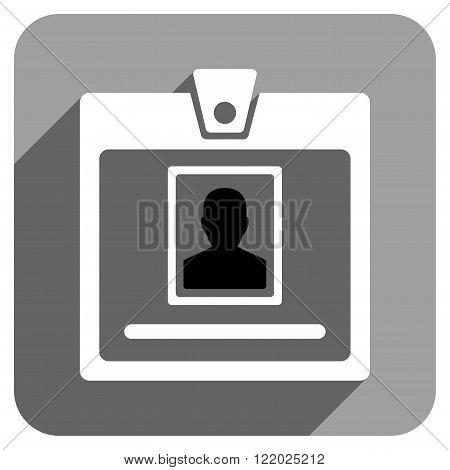 Person Badge long shadow vector icon. Style is a flat person badge iconic symbol on a gray square background.