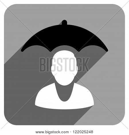 Personal Insurance Protection long shadow vector icon. Style is a flat personal insurance protection iconic symbol on a gray square background.