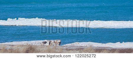 Melting ice floe near the shore of Lake Michigan