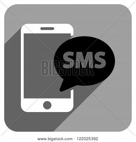 Phone SMS long shadow vector icon. Style is a flat phone sms iconic symbol on a gray square background.